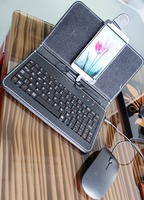 4 Colors Android Flip Leather Case Cell Phone Accessories Protector Wired USB Keyboard Mouse Set For