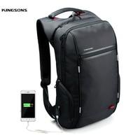 Kingsons Brand 15.6'' Men Laptop Backpack External USB Charge Antitheft Computer Backpacks Male /Women Waterproof Bags