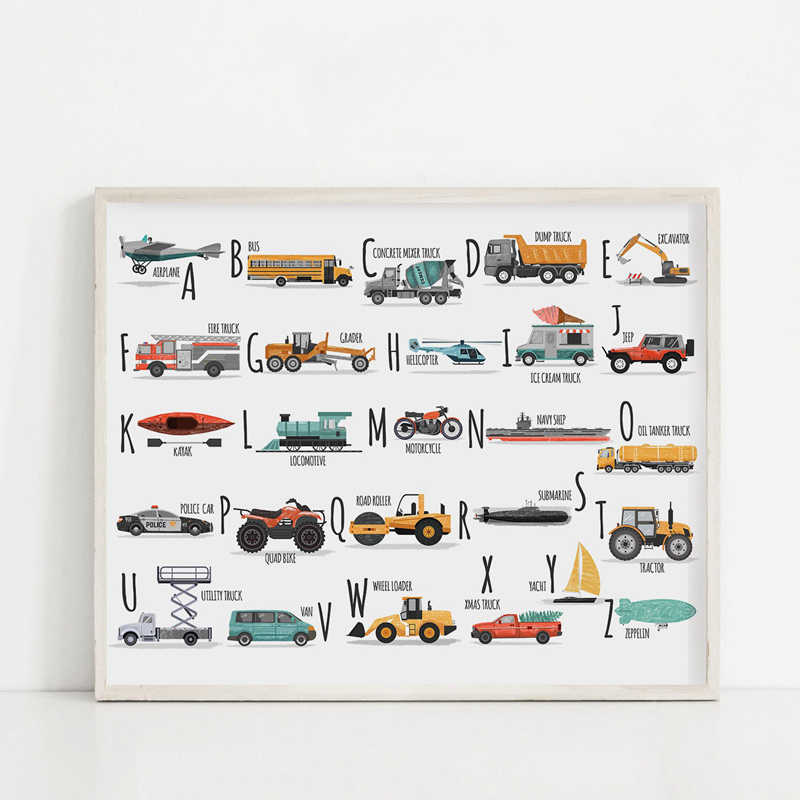 Home Decoration Canvas Painting Hd Pictures Wall Art Printed Car Alphabet Nordic Style Simple Modular Poster For Children Room