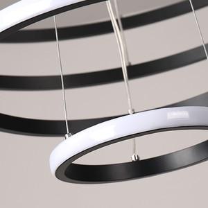 Image 5 - Creative מודרני בית LED עבור סלון חדר שינה אוכל חדר לבן & שחור & זהב & קפה מעגל מסגרת LED נברשות AC 110V 220V