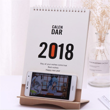 2018 Cute Cartoon Wood Desk Desktop Calendar Schedule Table Office Plan Random Mobile Phone Holder