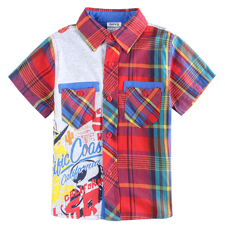 children clothes 2015 Nova kids new design cotton short sleeve turn down collar with pocket boys