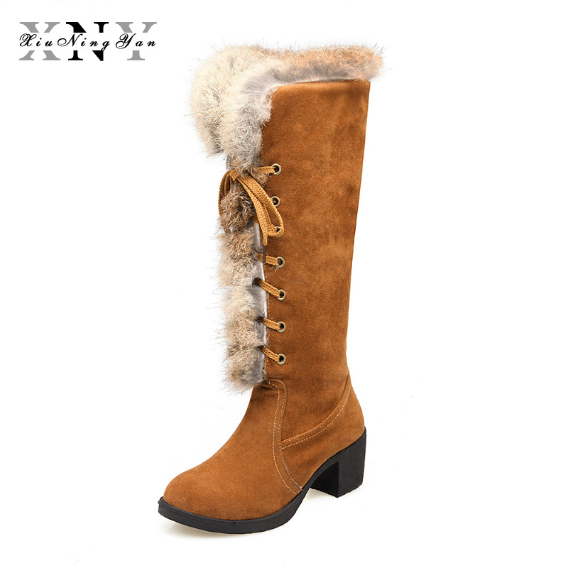 2018 Fashion Warm Fur Snow Boots Women High Heel Lace Up  Woman Shoes Big Size 34-43 Winter Long Knee High Boots Women Footwear цены онлайн
