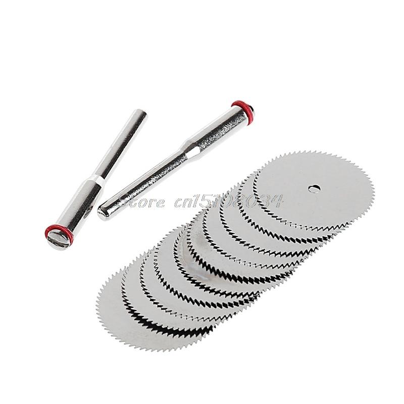 10 X 22mm Wood Saw Blade Disc + 2 X Rod Dremel Rotary Cutting Tool S08 Wholesale&DropShip