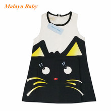Malayu baby girl clothes dress 2019 summer new girl fashion sleeveless cartoon print dress 2-6 years old girl children clothing summer girl dress striped star grey baby girl dress children clothing children dress 2 6years