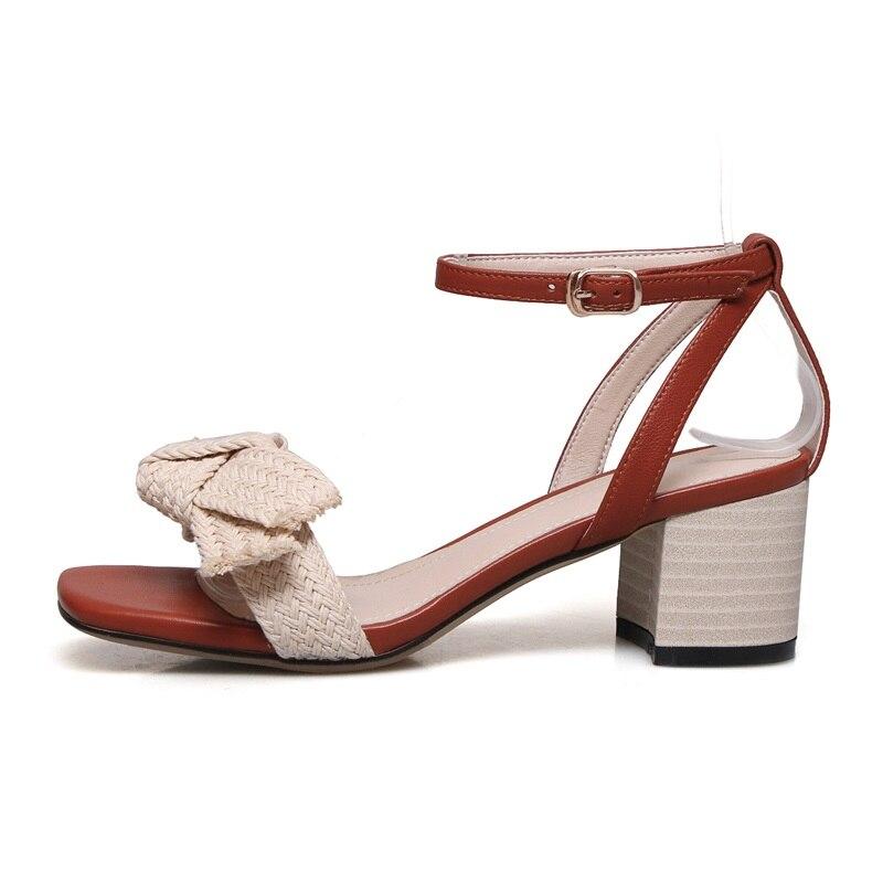 2019 Außerhalb Med Spitze Frau Offene Sommer Sexy Schuhe Slae Hoof Sandalen Neue Heels Mode Zvq Schnalle Echtem Heißer Aus Brown Leder vqaIZZ
