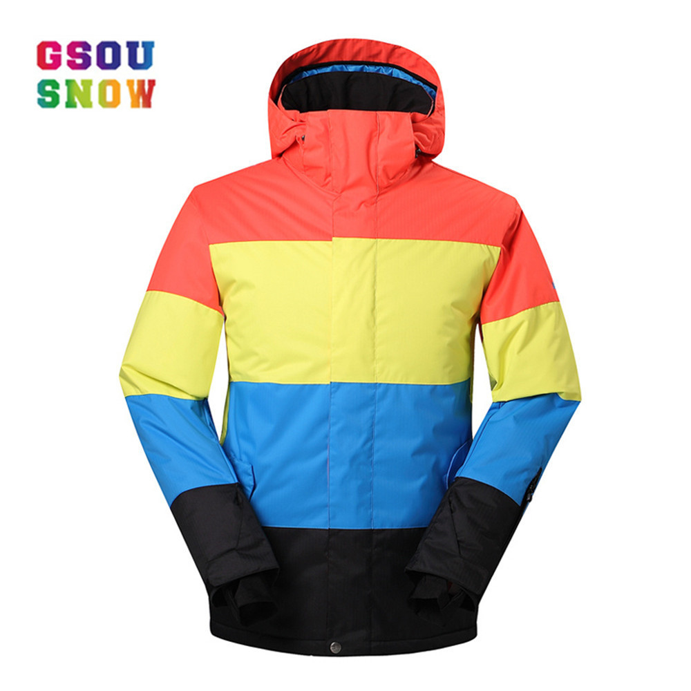 GSOU SNOW Winter Ski Jackets Men Warmth Outdoor Snowboard Jackets Waterproof Breathable Male Sports Jackets Plus Windproof gsou snow winter women ski suit warmth outdoor snowboard jacket waterproof windproof breathable lady sports jackets plus size