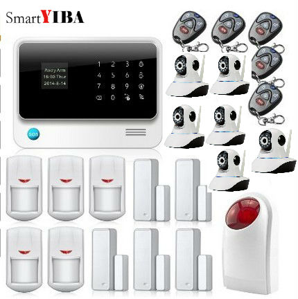 SmartYIBA Smart WIFI App Control Wireless Wired Zones Home Security Alarm System With Strobe Siren IP Cameras Kits GSM Alarm yobang security wireless zones app control security home kits wifi gsm alarm system with 2 ip camera for home protection