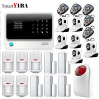 SmartYIBA Smart WIFI App Control Wireless Wired Zones Home Security Alarm System With Strobe Siren IP Cameras Kits GSM Alarm