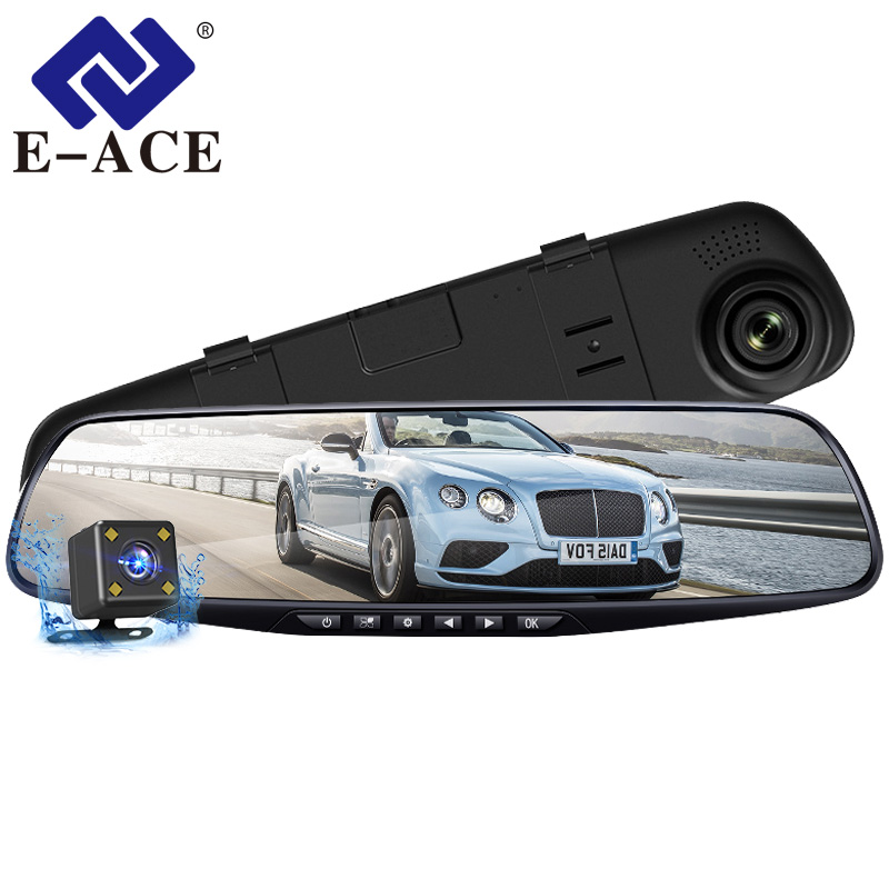 E-ACE Car Dvr Camera FHD 1080P Dash Cam 4.3 Inch Rearview Mirror Video Recorder With Rear View Camera Camcorder Auto Registrar