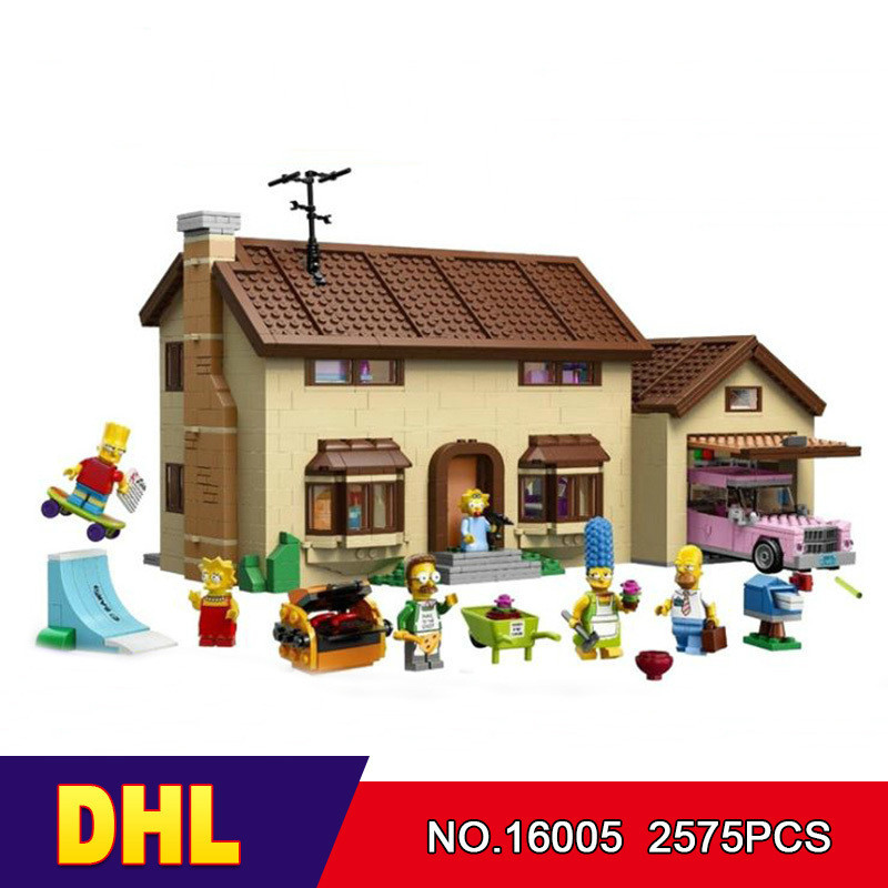 DHL LEPIN 16005 2575Pcs the Simpsons House Model Building Block Bricks Compatible 71006 lepin movie figures 16005 2575pcs the simpsons house model building kits blocks bricks educational kid toy compatible with 71006