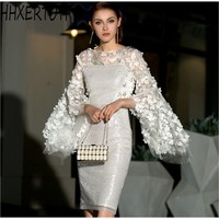 HIGH QUALITY New Fashion 2019 Designer Runway 3D flowers Dress Women's Sequin Celebrity Elegant party Dress