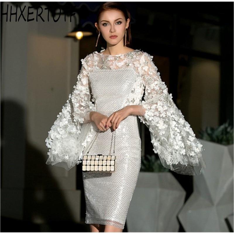 HIGH QUALITY New Fashion 2019 Designer Runway 3D flowers Dress Women's Sequin Celebrity Elegant party Dress
