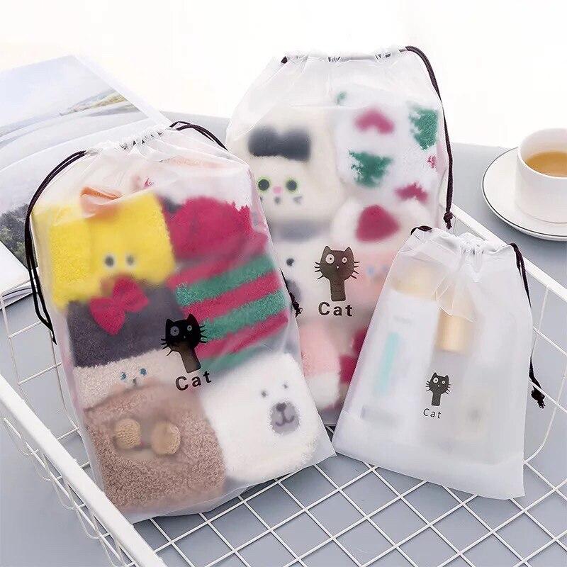 1 Pcs Tasje Transparante Waterdichte Wassen Pouch Cartoon Reizen Luggag Zakken Kleding Opslag Schoen Organizer Cosmetische Pocket Comfortabel Gevoel