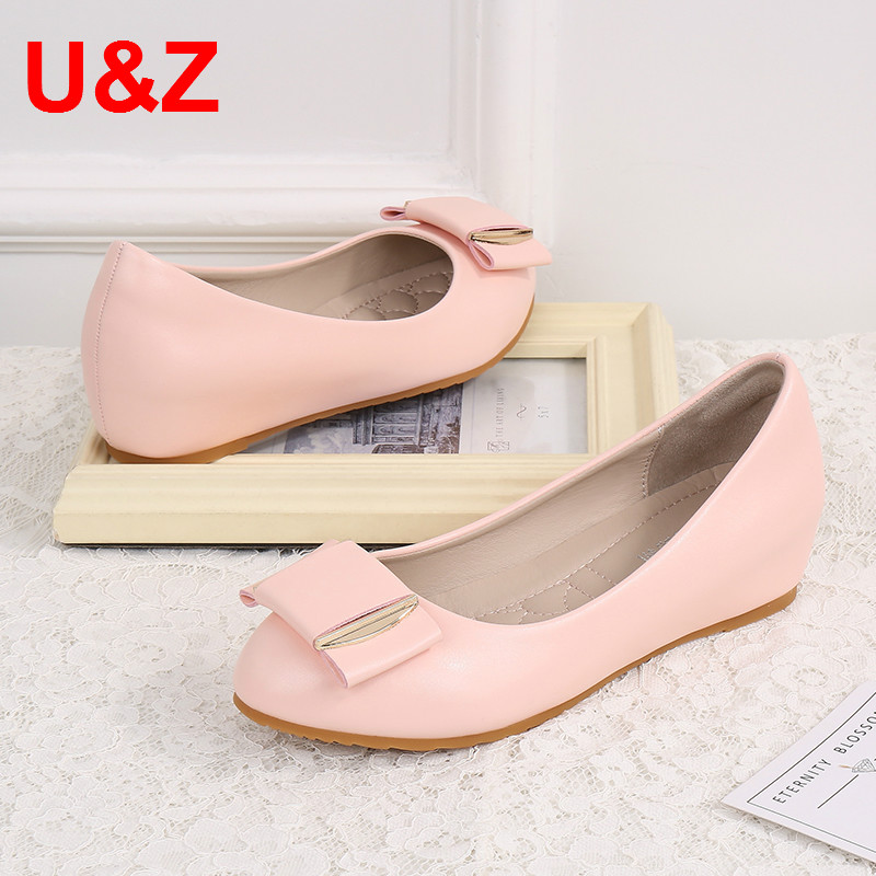 Comfy women kitten 45mm wedge pumps,Pink/Beige Matte/Patent Leather heels Fashion air-cushioned insole bow office shoes Students цена