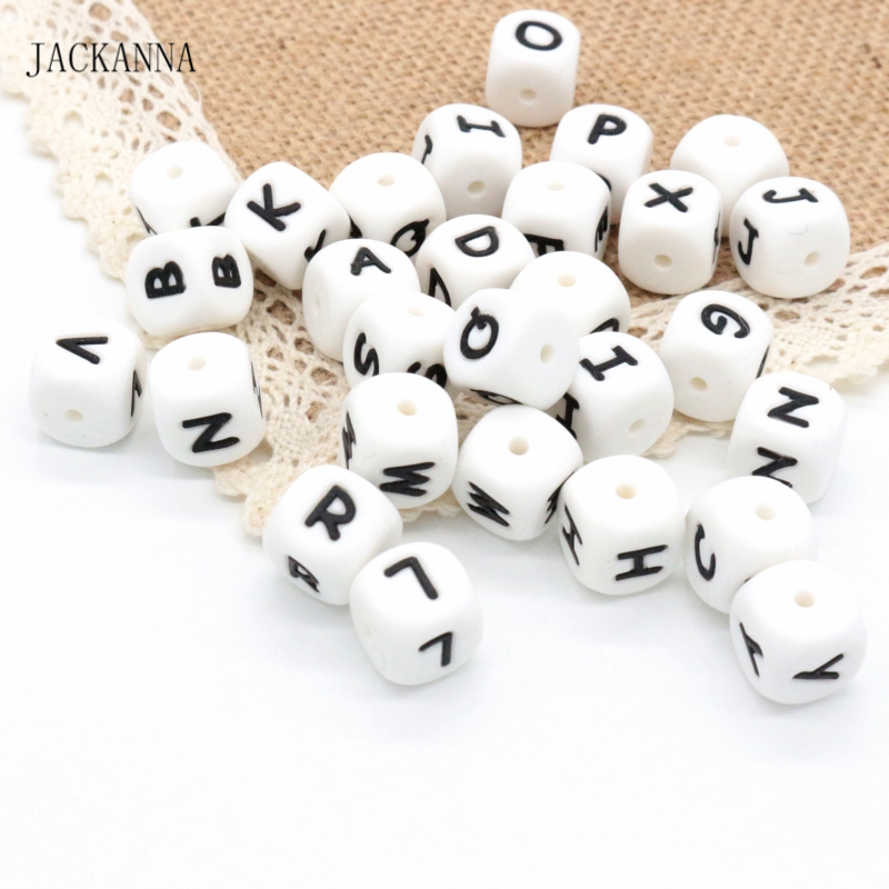 500Pcs Letters 12MM Silicone Beads Baby Teether Beads Chewing Alphabet Bead For Personalized Name DIY Teething