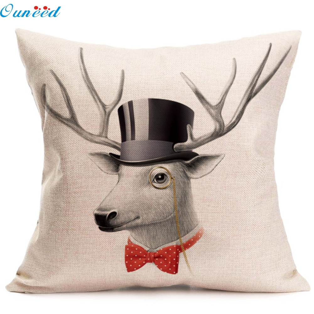 new created 1pc christmas deer pillow case sofa waist throw cushion cover home decor white factory wholesale price 2017 o10