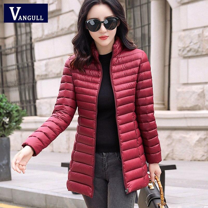 Vangull inverno feminino quente jaqueta básica feminina magro marca de algodão parkas 2019 outono novo casual manga longa com zíper bolso casaco