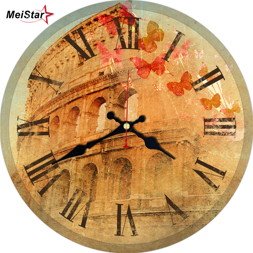 MEISTAR 3 Patterns Colosseum Design Clock Silent Home Cafe Office Bar Decorative Watches Art Wall Vintage Large Gift