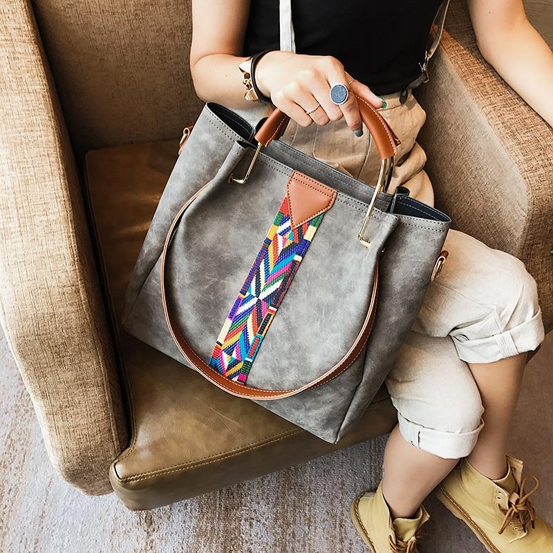 Kvinnor Läder Handväskor Stor Rem Metall Handtag Pu Läder Kvinnor - Handväskor - Foto 2