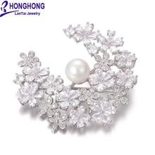 Honghong кубический цирконий жемчужные булавки и высококачественные Броши растения цветы брошь свадебное платье модные ювелирные изделия