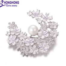 HONGHONG Cubic zirconia pearl pins and brooches High Quality Plant flowers Brooch Wedding Dress fashion Jewelry Free Shipping
