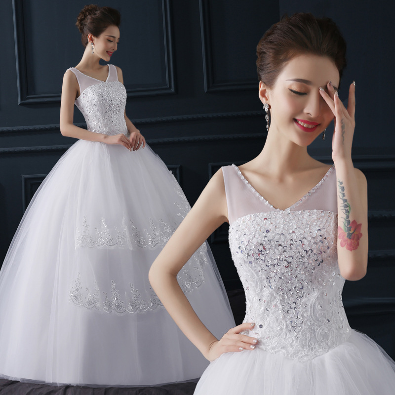 2019 New Arrive Korean Summer Fashionable Cheap Wedding Dress Crystal Plus Size Bridal Gowns Lace Up