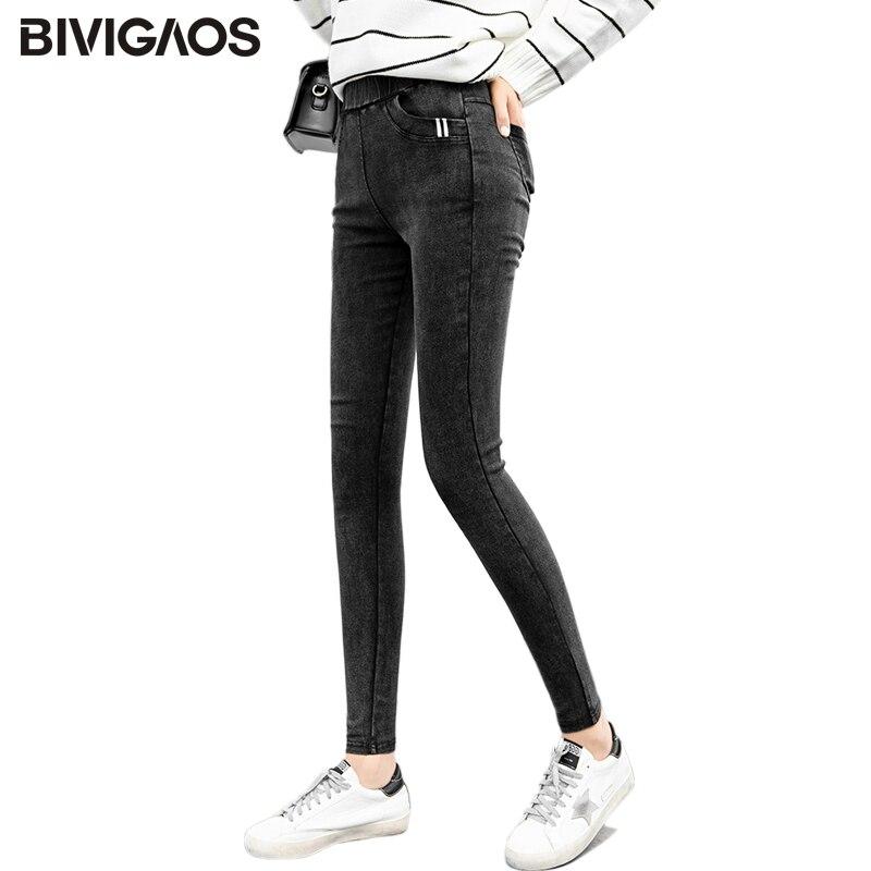 BIVIGAOS 2018 Autumn New Womens Skinny Slim   Jeans   Leggings Front Pocket Webbing Jeggings Pencil Pants Black Straight Pants Women
