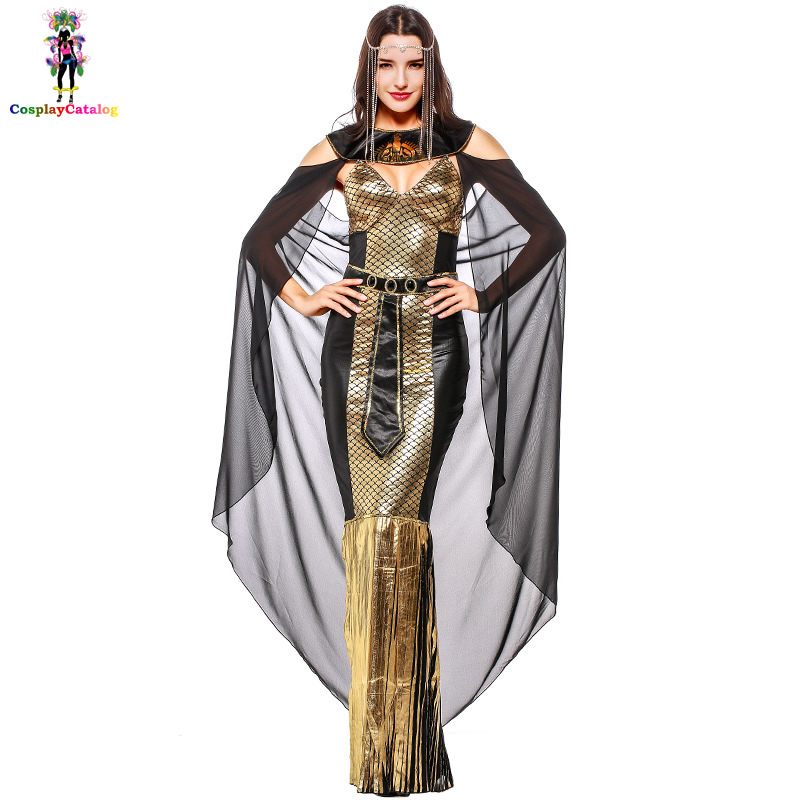 Ancient Greek God Athena Costume For Adult Women,Halloween Sequins Long Dress Masquerade Costumes Egyptian Princess Uniforms