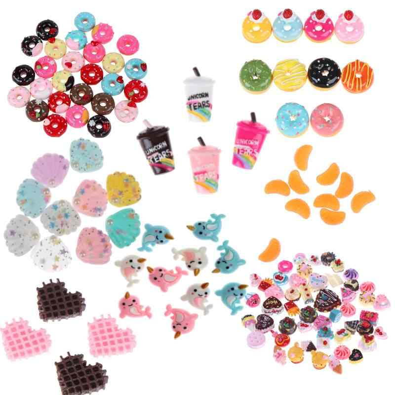 10Pcs Mini Play Food Cake Biscuit Donut Cake Doll Miniature Pretend Toy Rainbow Coffee Cup Polymer Slime Charm Modeling Clay DIY