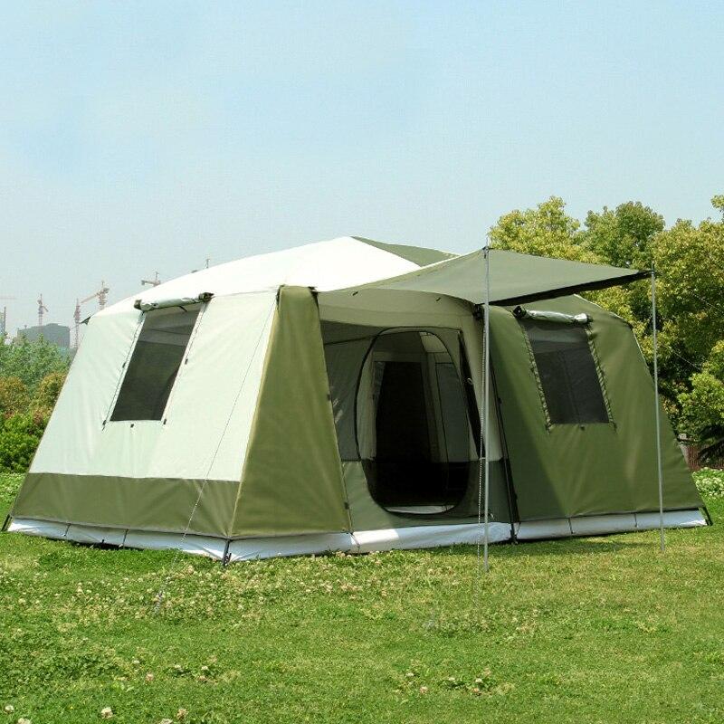 Nouveauté grande tente camping en plein air 10-12people haute qualité luxe famille/fête 2 pièces 1 hall camping en plein air tente