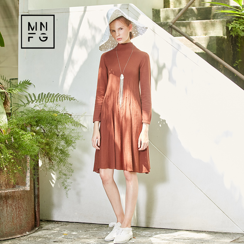 MNFG by Amii High-collar Slim solid color wild sweater dress