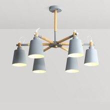 LukLoy עץ תליון אורות Macaron מודרני מנורת שחור אפור כחול ירוק עבור לופט סלון לופט חדר שינה מטבח מנורת נורדי סגנון