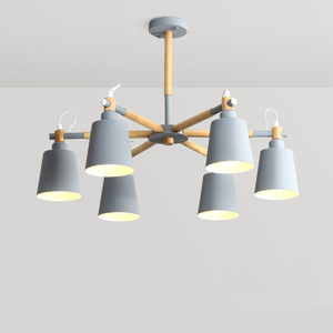 Image 1 - LukLoy Wood Pendant Lights Macaron Modern Lamp Black Grey Blue Green For Loft Living Room Loft Bedroom Kitchen Lamp Nordic Style
