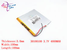 best battery brand 3.7V lithium polymer battery 30100100 4000MAH mobile power DIY tablet computer 30101100(China)
