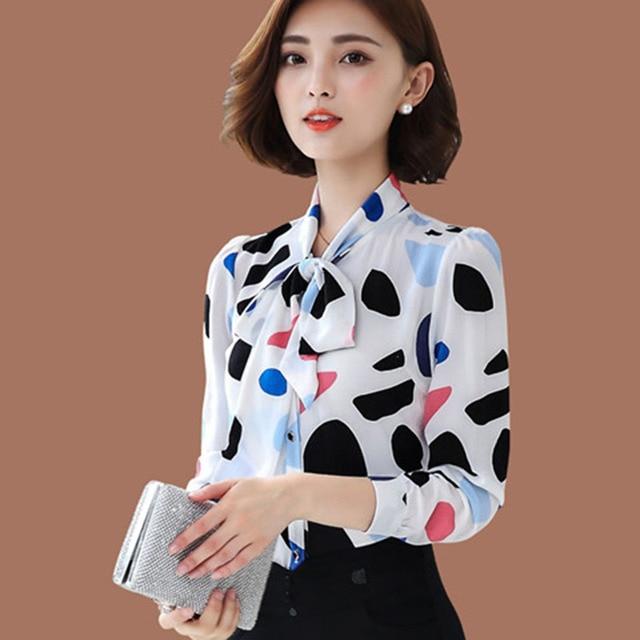 New arrival fashion  Chiffon Shirt Long Sleeve  polka dot women blouses casual bow lady shirt large size DD2357 2