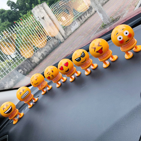 Cartoon Expressions Series Spring Head Shaking Dolls car accessories interior decoration Automotive interior decorations ornamen Lahore
