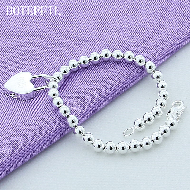 DOTEFFIL 925 Sterling Silver Heart Lock 6mm Beads Chain Bracelets Jewelry Women Top Quality Lovers Bracelets Christmas Gift 3