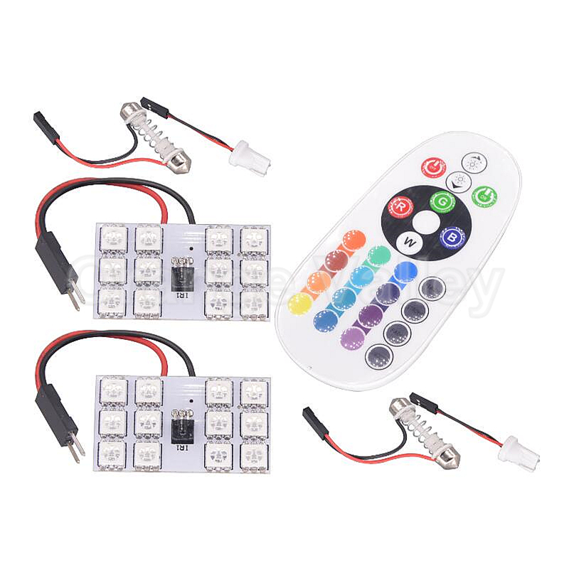 2set RGB 12 5050 SMD Car Interior Lamping Panel Dome Light Auto Remote Controlled Colorful Led Lamp With T10 Festoon Adapters cawanerl car canbus led package kit 2835 smd white interior dome map cargo license plate light for audi tt tts 8j 2007 2012