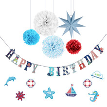 Nautical Theme Happy Birthday Decoration Set Banner Wall Decal Sticker For Baby Kids Boy Party Supplies