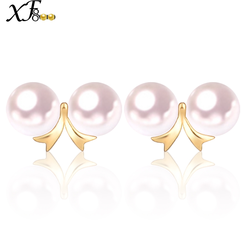 XF800 Gold Earrings 18K Yellow Gold Natural AKOYA Seawater Round Pearl Earrings au750 Fine Jewlery party for women girl E132 elixa beauty e132 l558