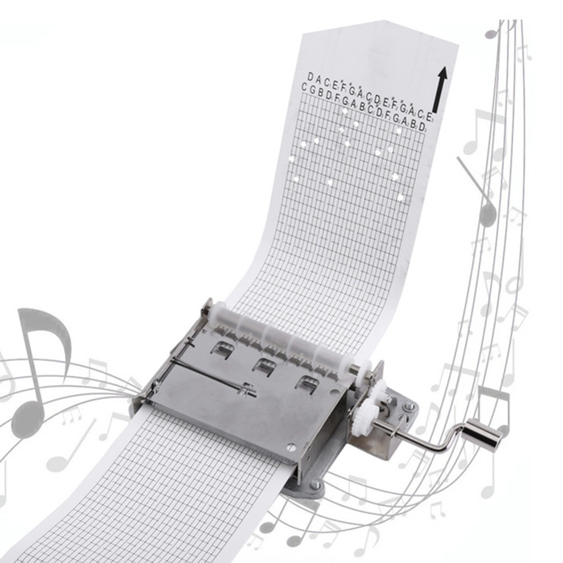 30 Notes Hand Crank Music Box Hand Movement Part + Puncher + 3 Stripes DIY Your Songs Perfect Gift Mechanical Musical Box Set