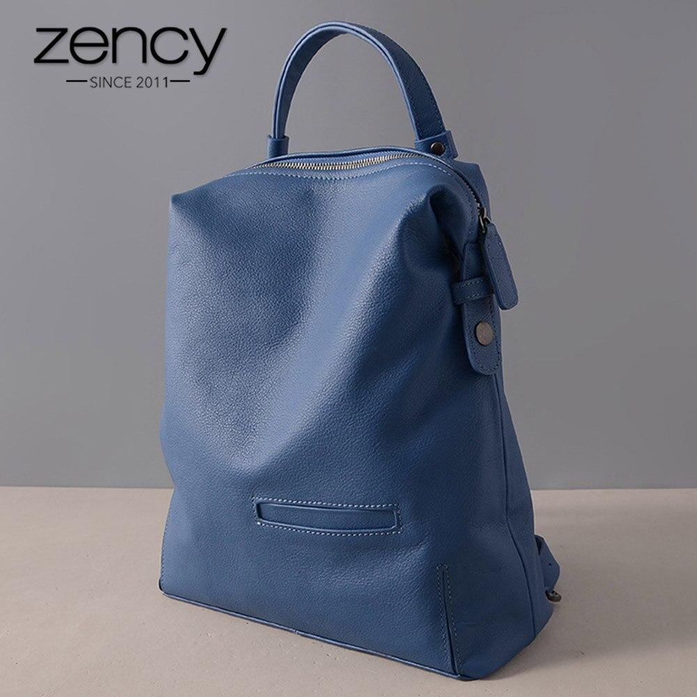 Zency 100 Genuine Leather Vintage Women Backpack Waterproof Anti theft Travel Bags Laptop Knapsack Preppy Schoolbags