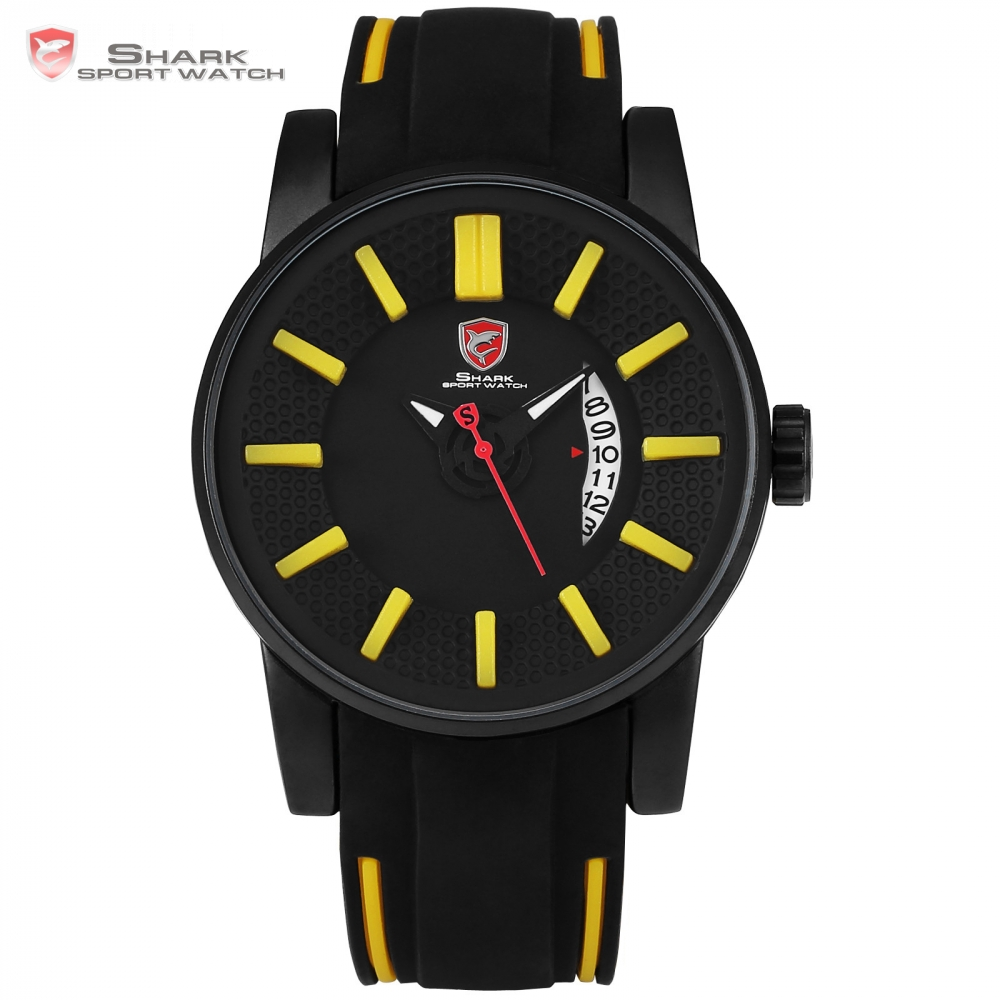 Grey Reef Shark Sport Watch 3D Face Yellow Analog Design Date Silicone Luxury Quartz Clock Man Watches Relogios Masculino /SH479