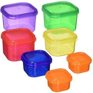 Image 4 - Caja de plástico 7 unids/set fiambrera Multi Color porción recipiente de control Kit BPA tapas libres etiquetadas Bento caja de almacenamiento de alimentos contiene
