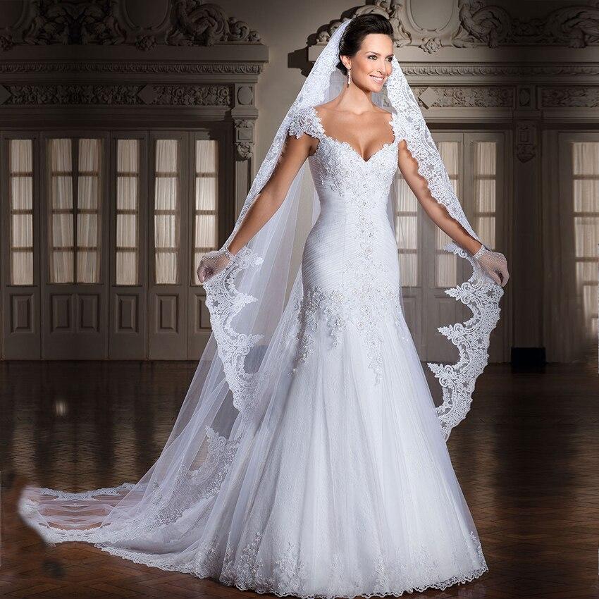 veu de noiva Lace Bridal Veil 300 CM Long One Layer Wedding Accessories Cheap Appliques White