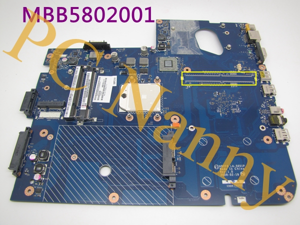 07 CPU Laptop Motherboard FOR Packard Bell EASYNOTE LJ61 MB.B5802.001 MBB5802001 KBYF0 L11 LA-5051P