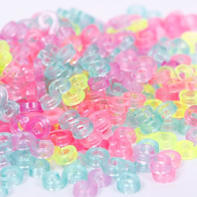 240pcs Child Mix Color S-Clips Rubber Loom Bands Bracelet Making DIY Tool Bracel