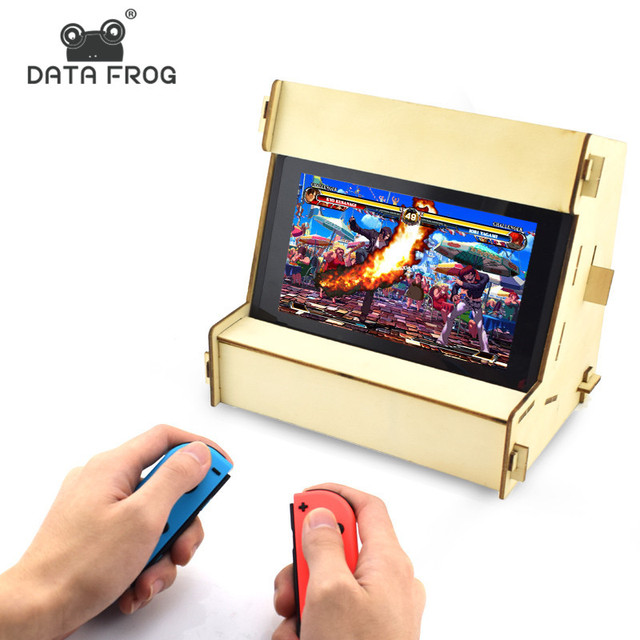 Data Frog DIY Retro Arcade Cabinet Stand For Nintend Switch Holder For NS Console Controller Hardwood Bracket