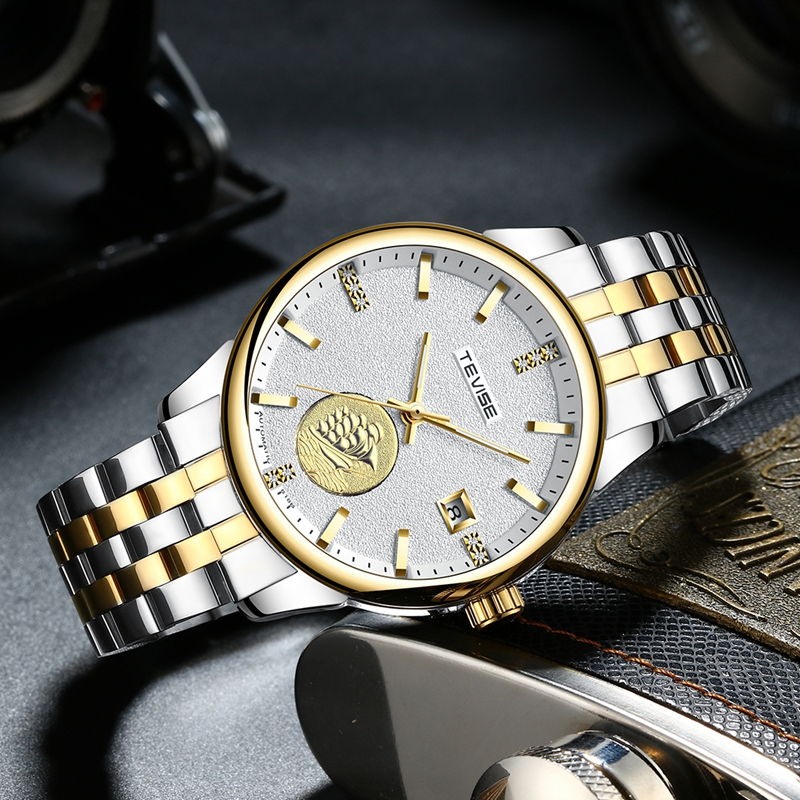 TEVISE Men Luxury Automatic Mechanical Watch Gold Stainless Steel Man Fashion Auto Date Luminous Hand Skeleton Wristwatches T818 tevise fashion mechanical watches stainless steel band wristwatches men luxury brand watch waterproof gold silver man clock gift